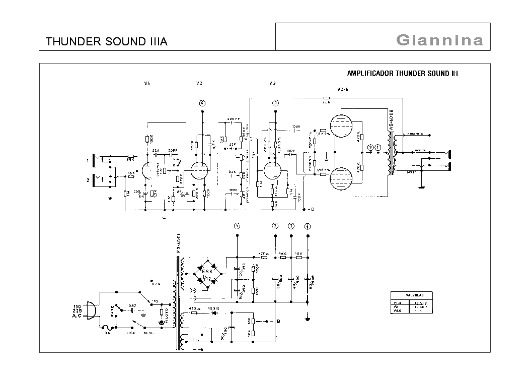 GIANNINA THUNDER SOUND-3A SCHEMATIC Service Manual