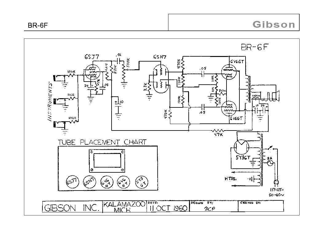 GIBSON BR-6F SCHEMATIC Service Manual download, schematics