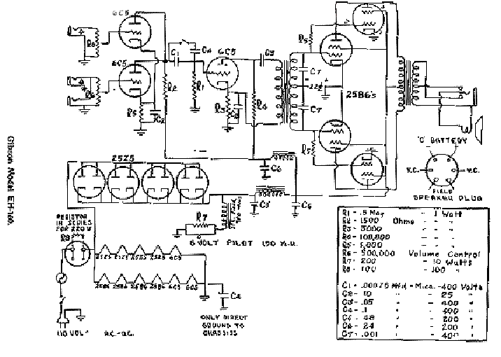 GIBSON GA-100 BASS AMP SCHEMATIC Service Manual download