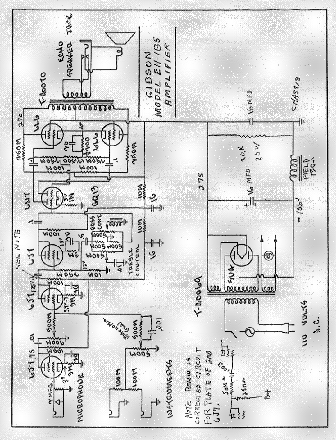 GIBSON EH 185 AMPLIFIER SCHEMATIC Service Manual download