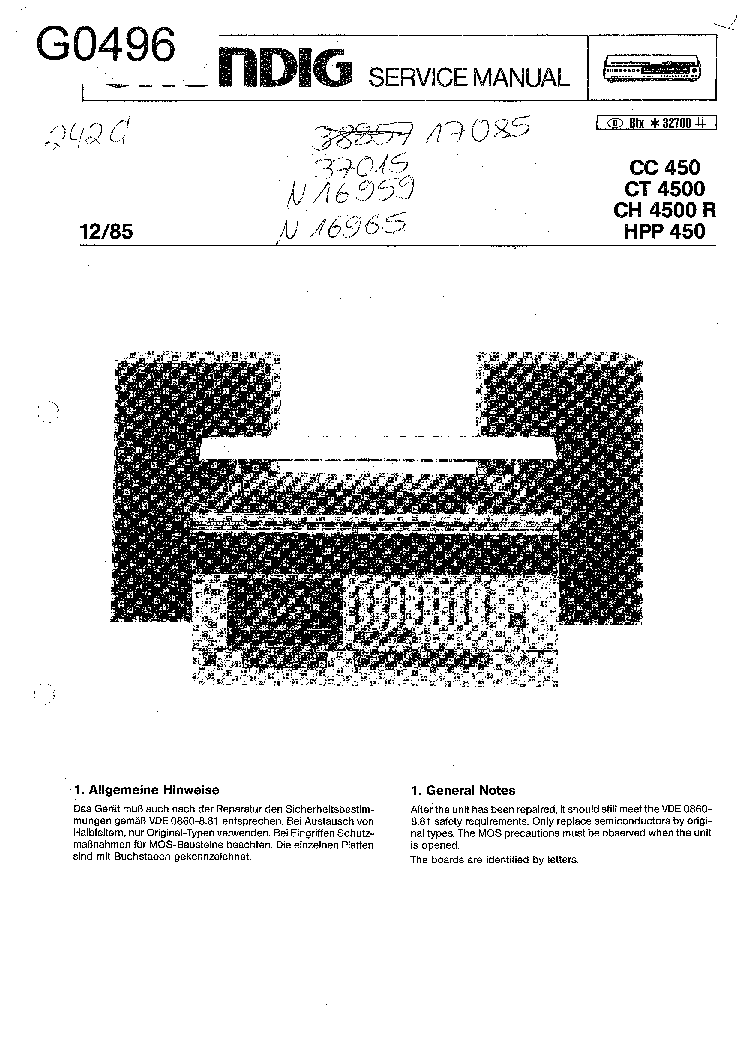 GRUNDIG 1088 AM-FM RECEIVER 1957 SM Service Manual free
