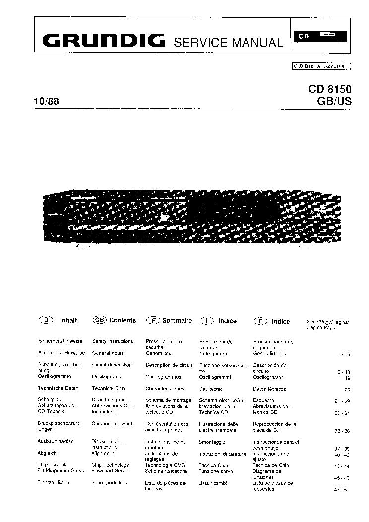 GRUNDIG CD8150 SM Service Manual download, schematics