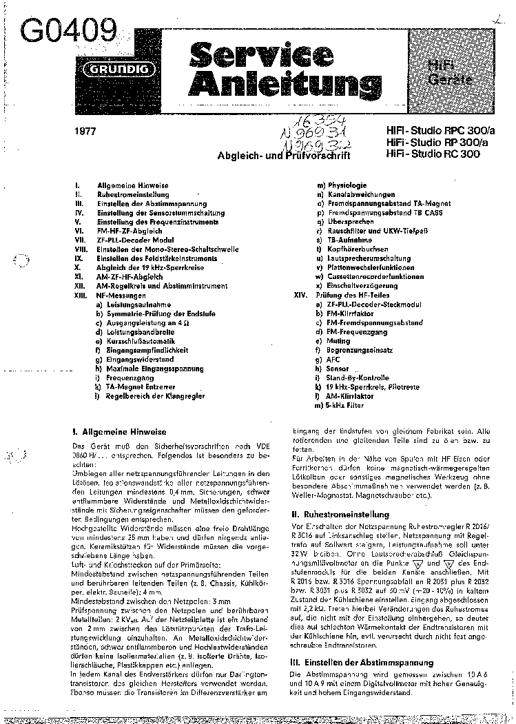 GRUNDIG SATELLIT-800 SCH Service Manual download