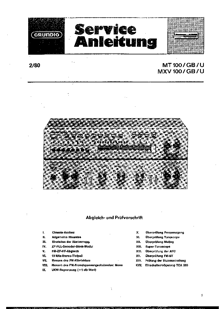 GRUNDIG MT-100 MXV-100 SCH Service Manual download