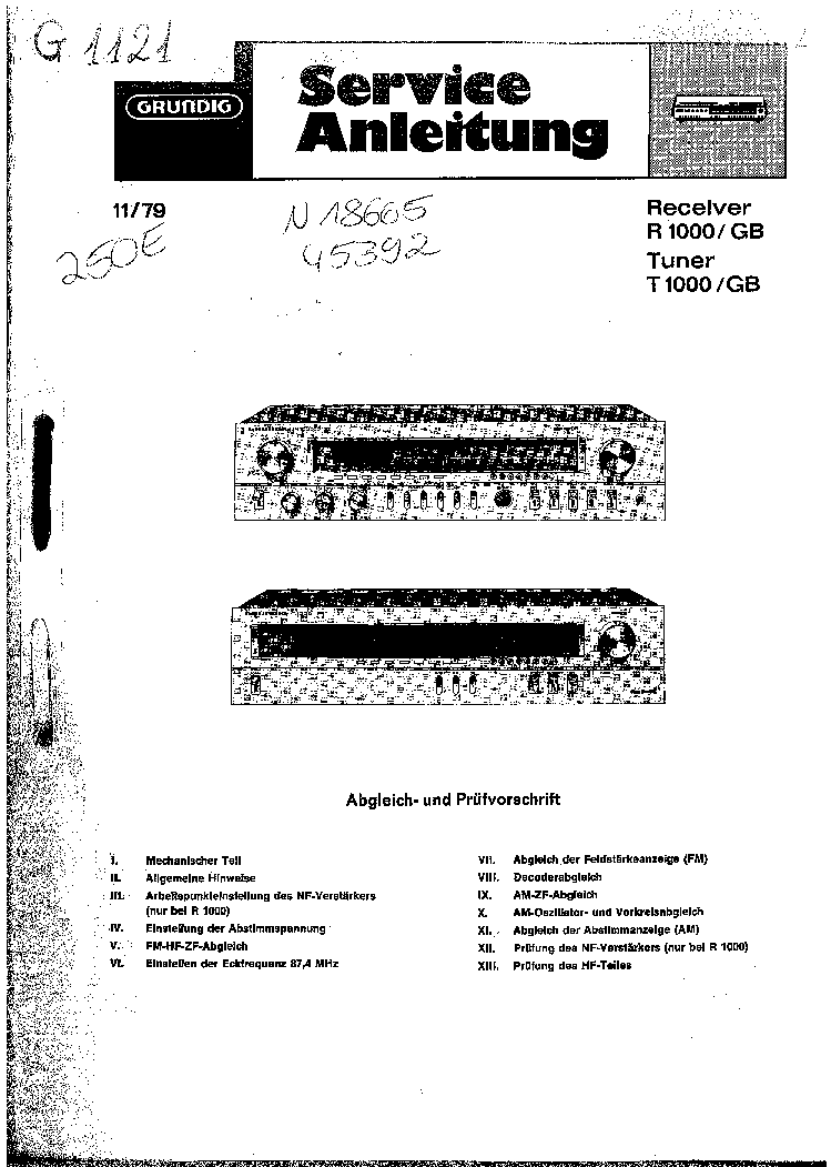 GRUNDIG R1000 Service Manual download, schematics, eeprom