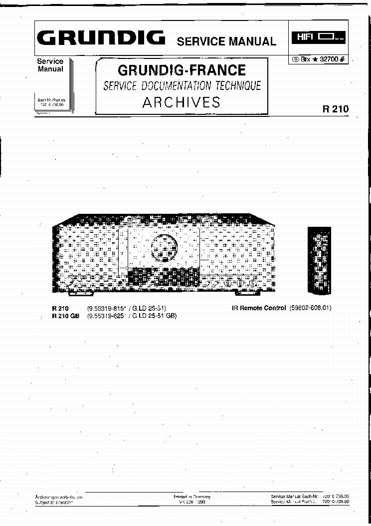 GRUNDIG R210 R210GB Service Manual download, schematics