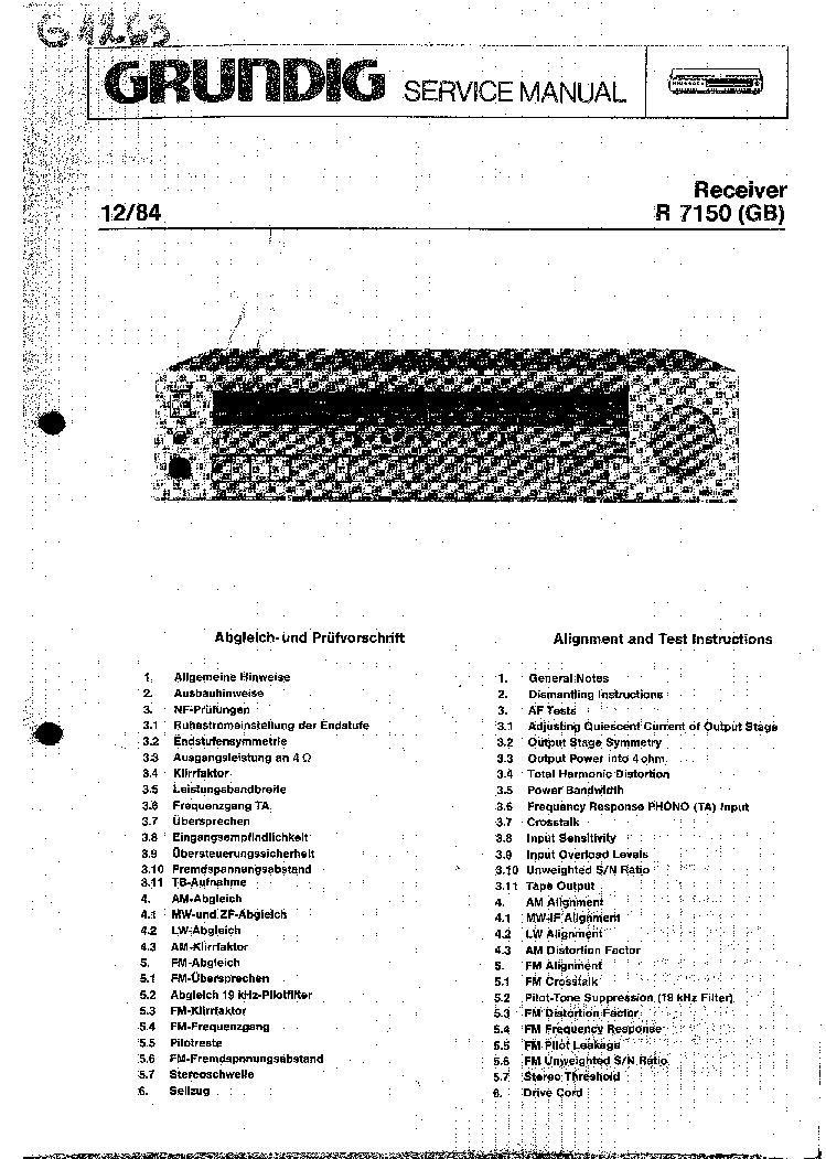GRUNDIG R7150 RECEIVER Service Manual download, schematics