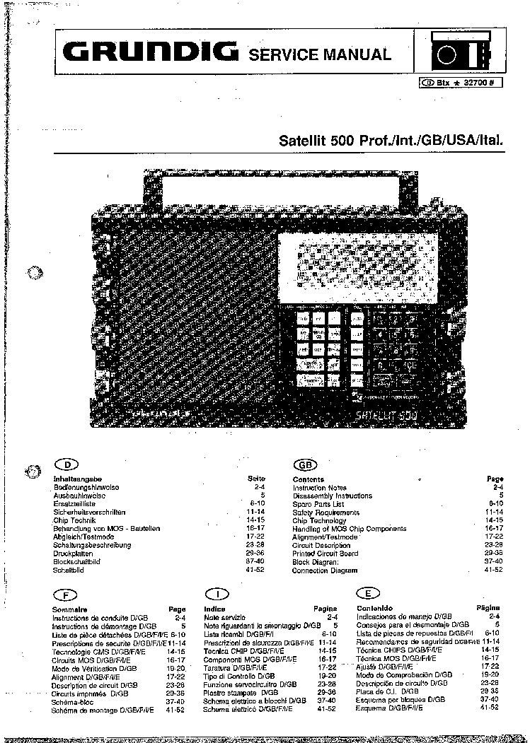 GRUNDIG SATELLIT500 Service Manual download, schematics