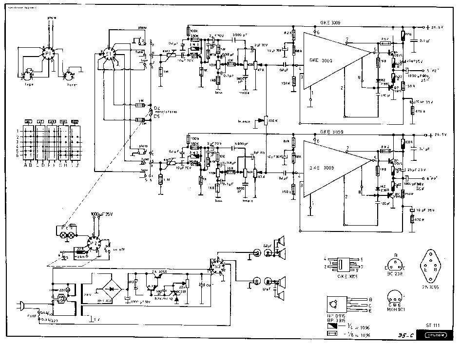 GRUNDIG ST111 AMPLIFIER SCH Service Manual download
