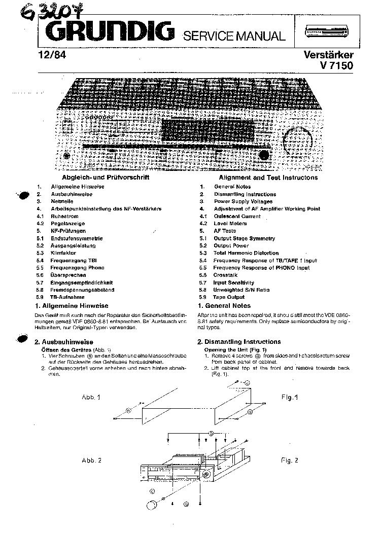 GRUNDIG V-7150 SM Service Manual download, schematics
