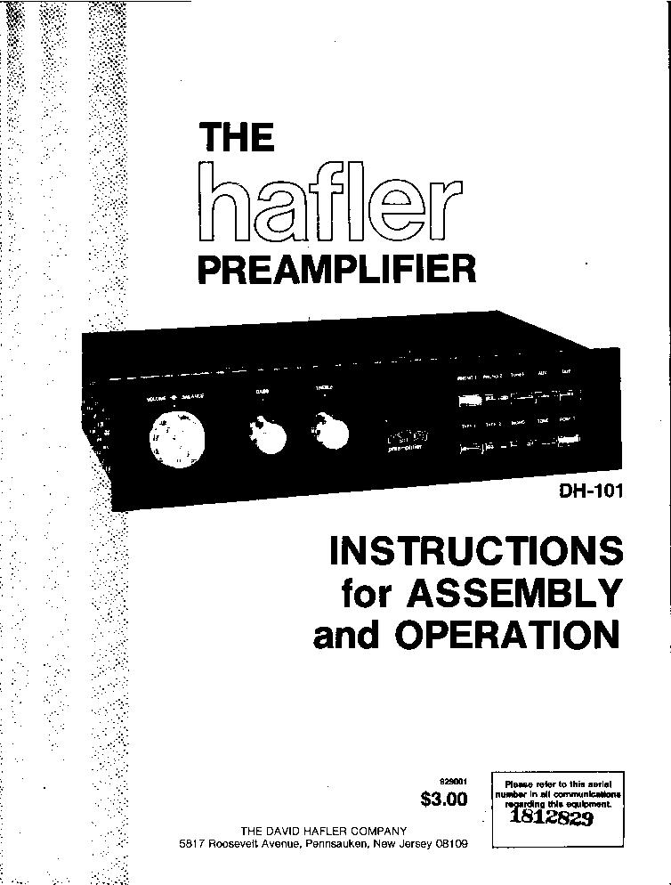 HAFLER DH-101 STEREO PA KIT 1978 SM Service Manual