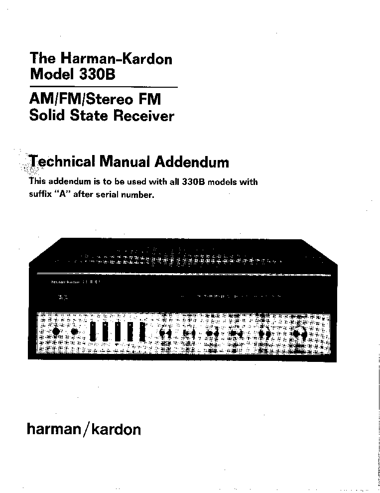 HARMAN-KARDON AVR-135 CHANNEL 6.1 RECEIVER Service Manual