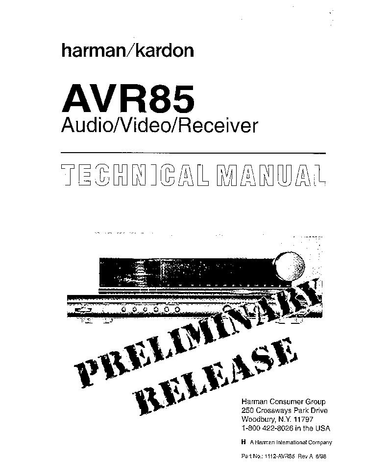 HARMAN KARDON AVR85 SM Service Manual download, schematics