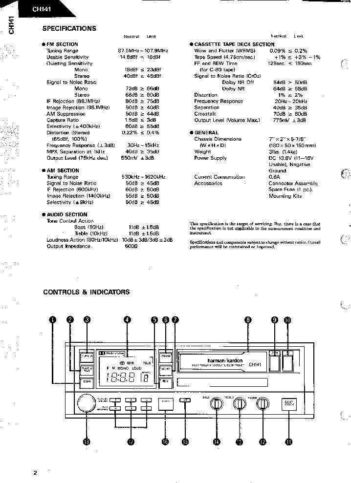HARMAN KARDON CH-141 HIFI CASETTE DECK TUNER SM Service