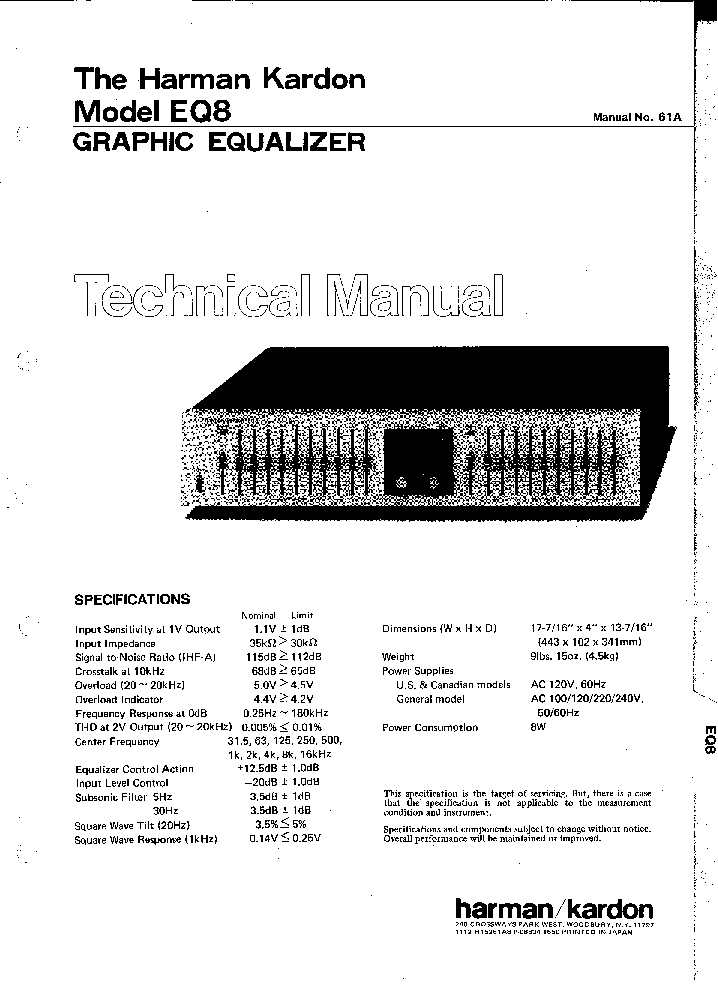 HARMAN KARDON EQ8 SM Service Manual download, schematics