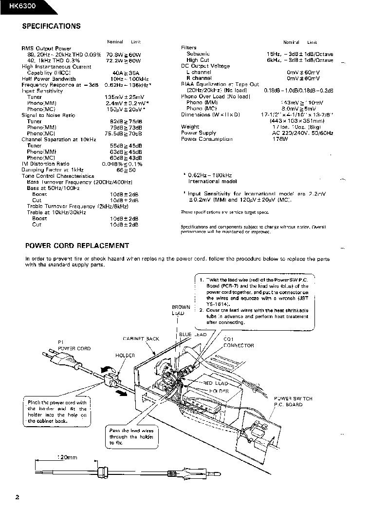 HARMAN KARDON HK-6300 SM Service Manual download