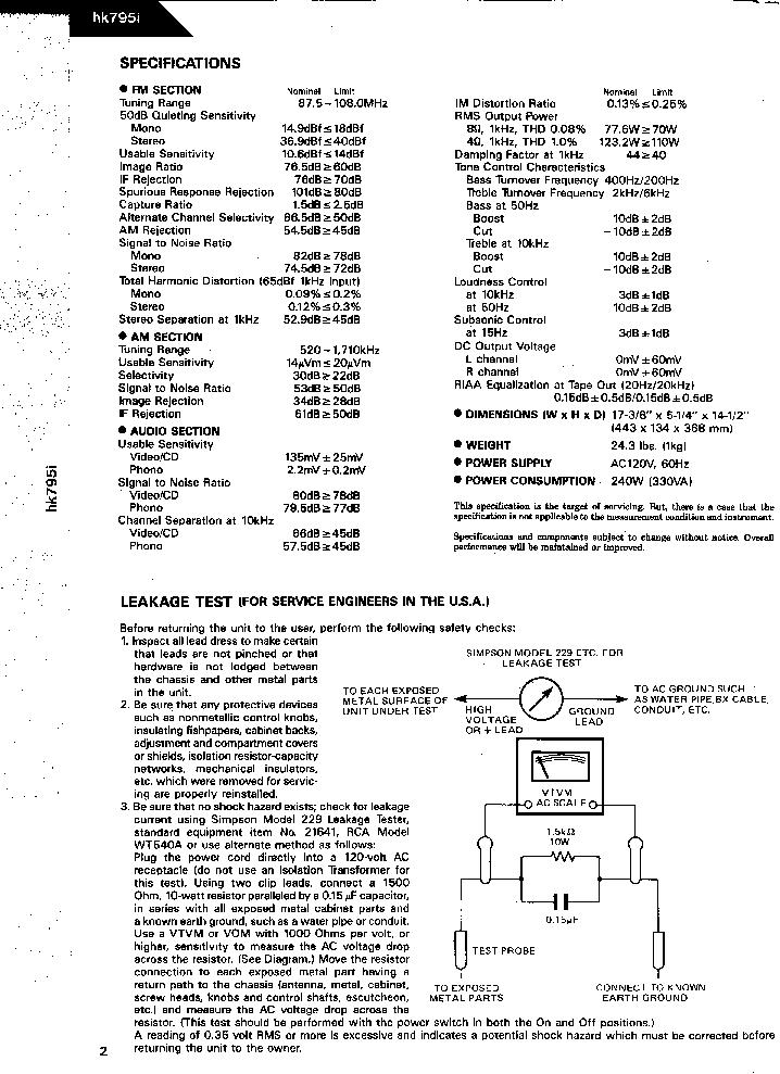 HARMAN KARDON HK795I SM Service Manual download