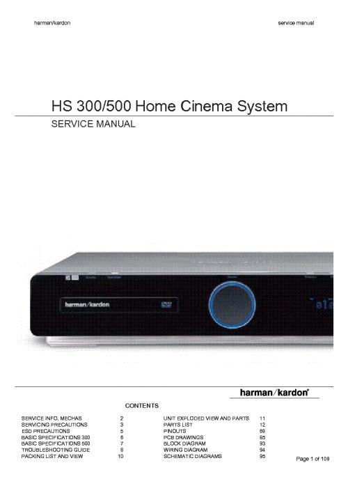 small resolution of harman kardon hs300 hs500 service manual 1st page
