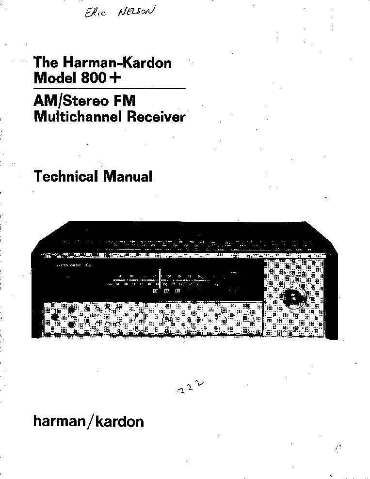 THE HARMAN KARDON AVR5 Service Manual download, schematics