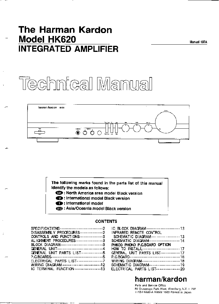 hight resolution of the harman kardon hk service manual schematics the harman kardon hk620 service manual 1st page wiring diagram