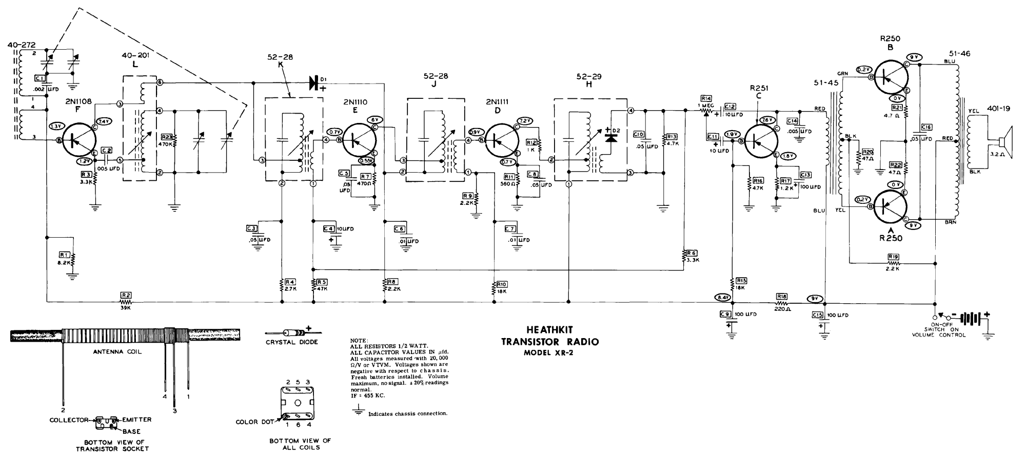 hight resolution of heathkit xr 2 6 transistor radio schematic service manual 1st page