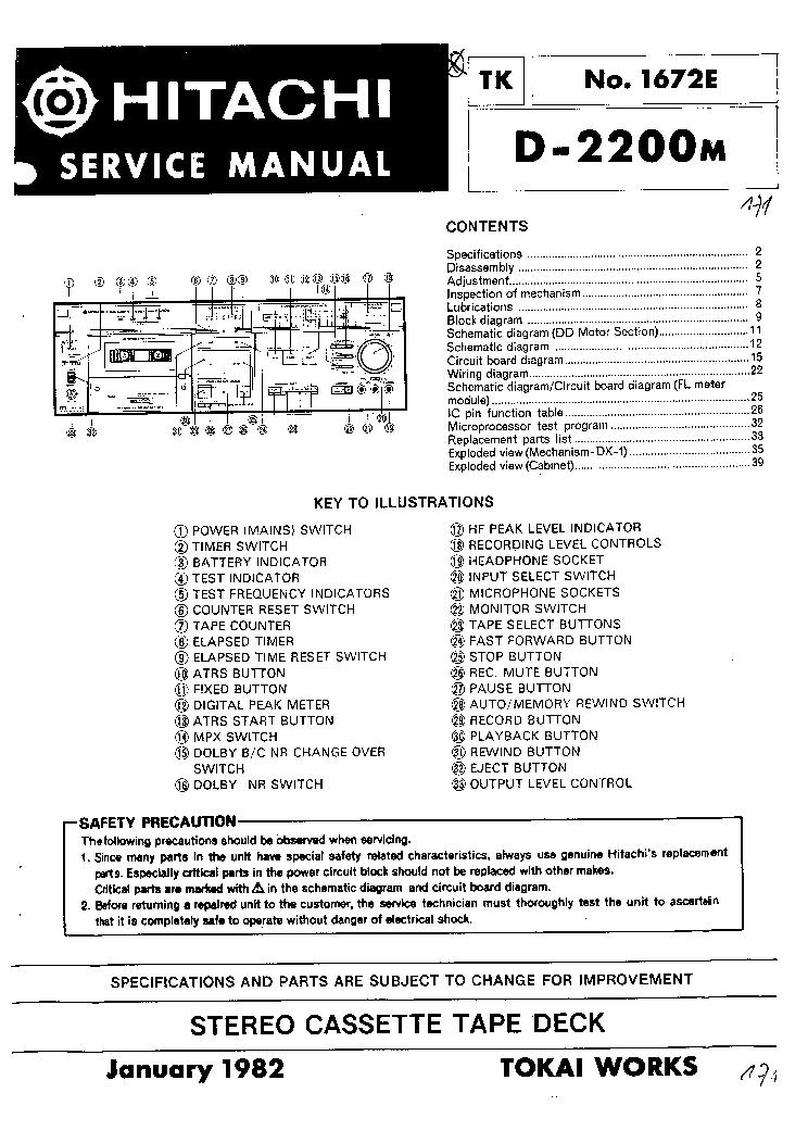 HITACHI D-2200M STEREO CASETTE TAPE DECK 1982 SM Service