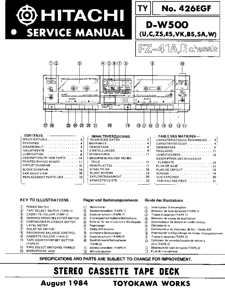 HITACHI D-W500 SM EN DE FR Service Manual download