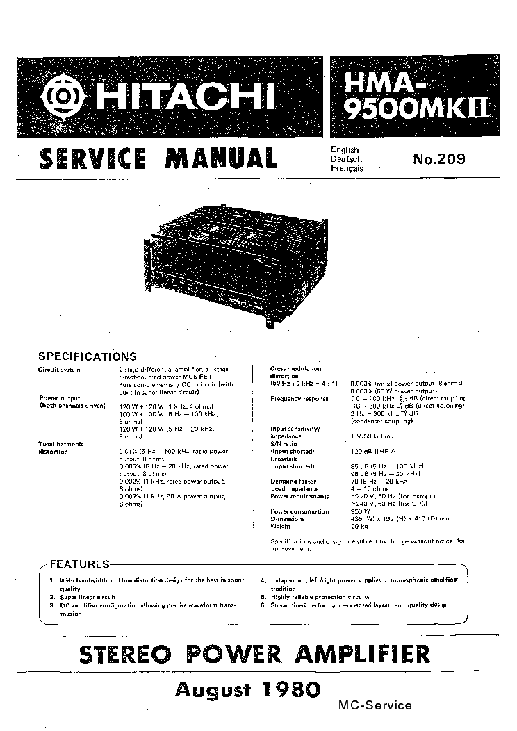 HITACHI HMA-9500-MK-II-SM Service Manual download