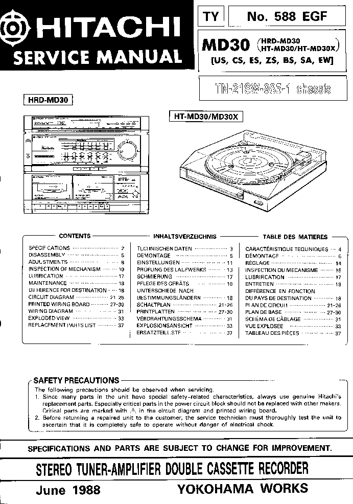 HITACHI HRD-MD30 HT-MD30X Service Manual download