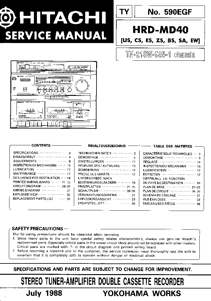 HITACHI HRD-MD40 Service Manual download, schematics