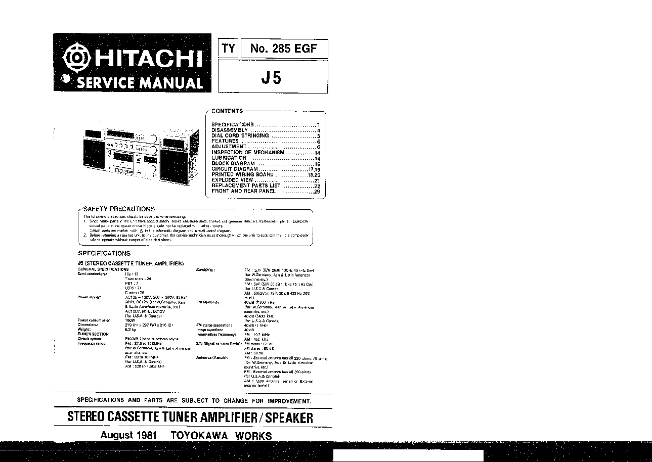 HITACHI J5 Service Manual download, schematics, eeprom