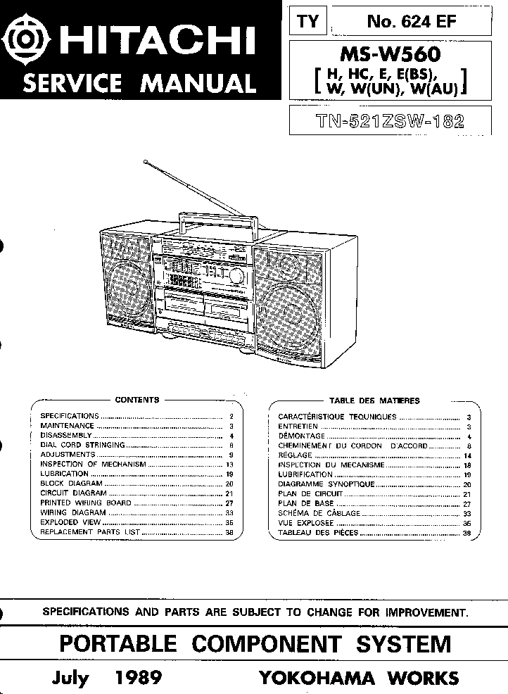 HITACHI TRK-7800 Service Manual download, schematics