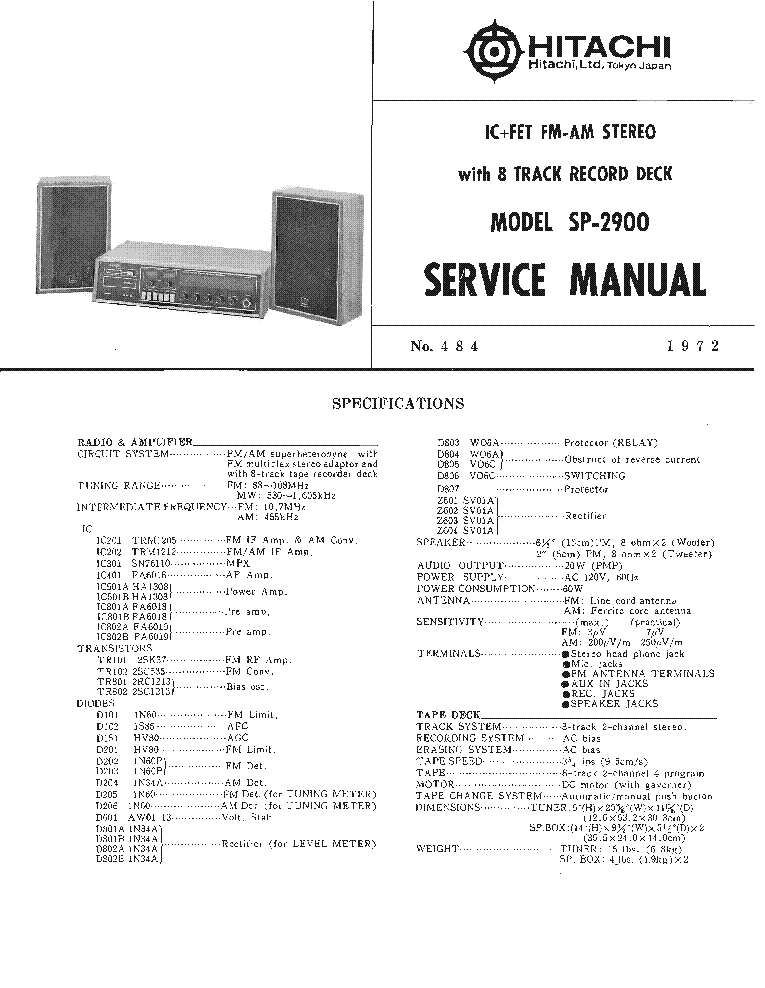 HITACHI HA-330 Service Manual download, schematics, eeprom