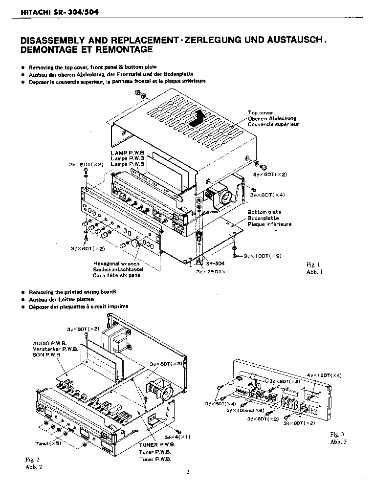 HITACHI SR-304 SR-504 Service Manual download, schematics