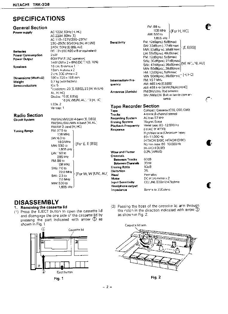 HITACHI TRK-3D8 SM Service Manual download, schematics