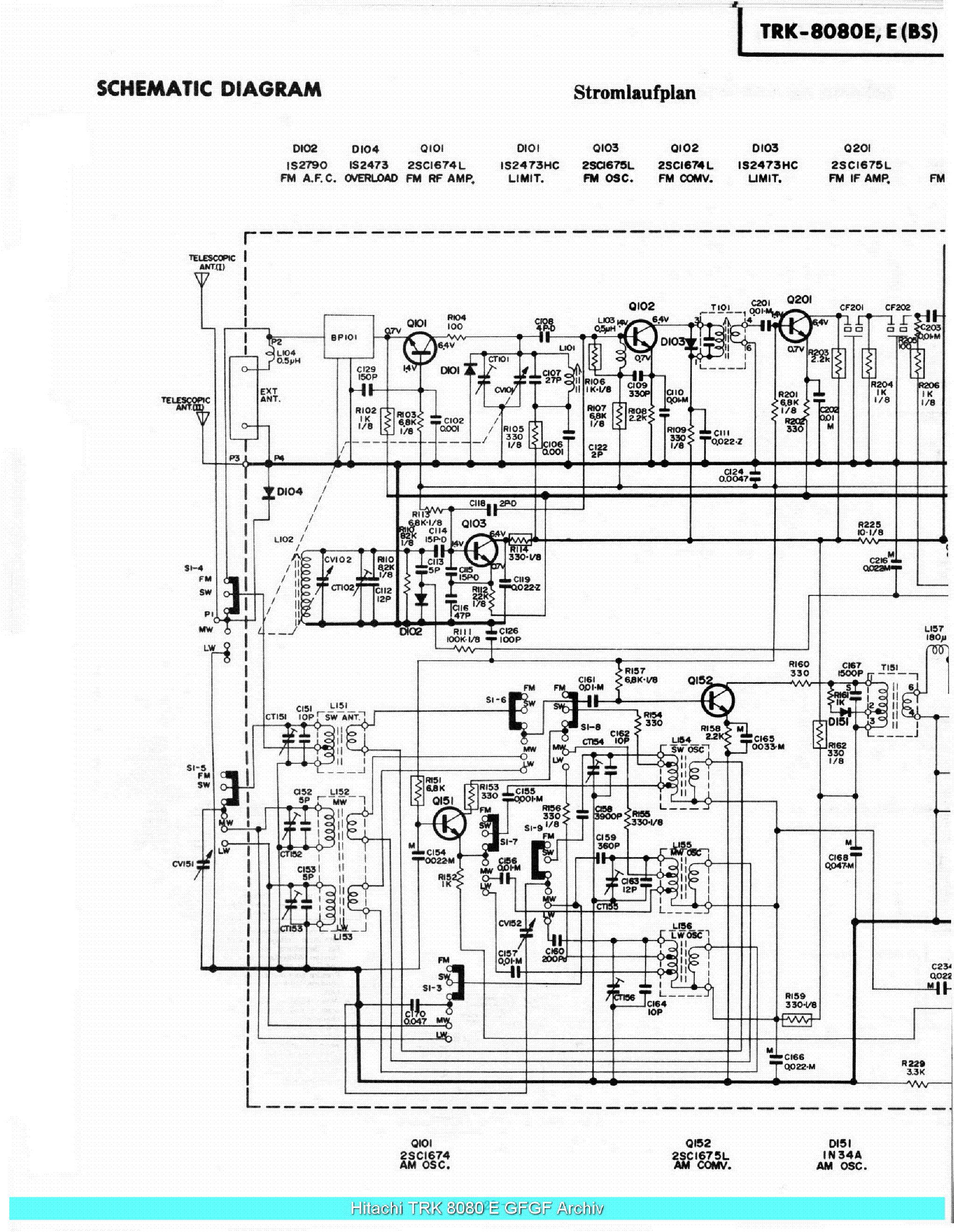 HITACHI TRK-8080E SCHEMATIC Service Manual download