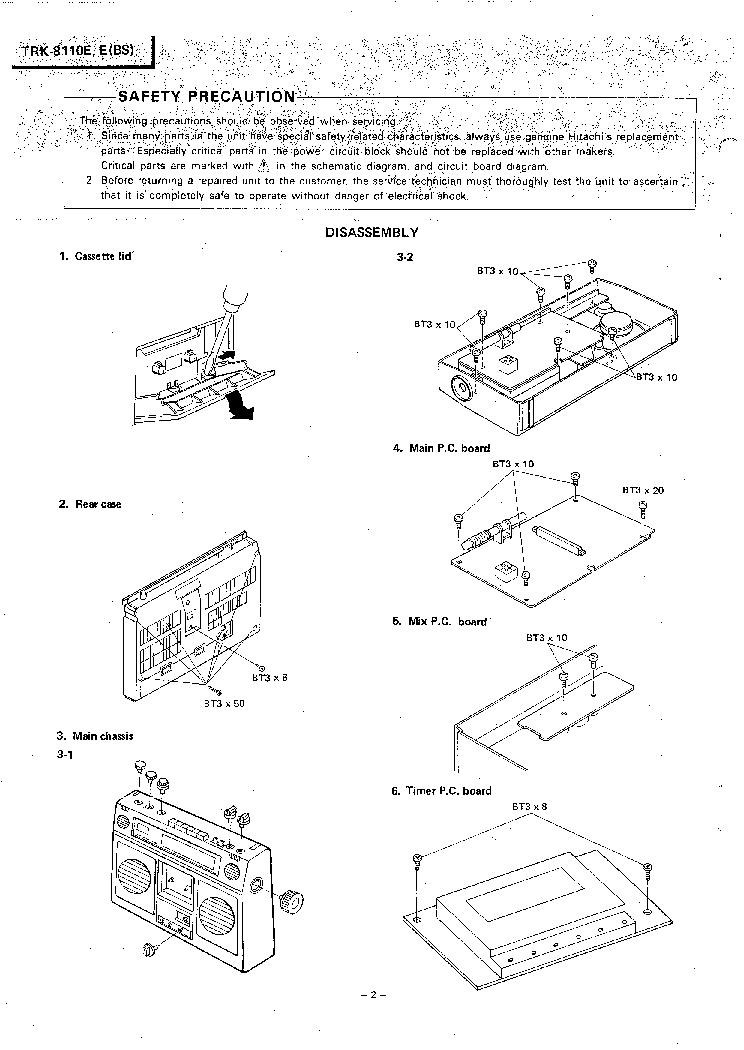 HITACHI TRK-8110E SM Service Manual download, schematics