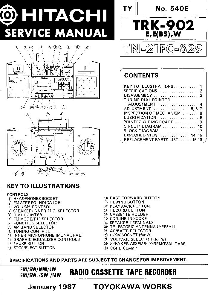 HITACHI TRK-902 Service Manual download, schematics