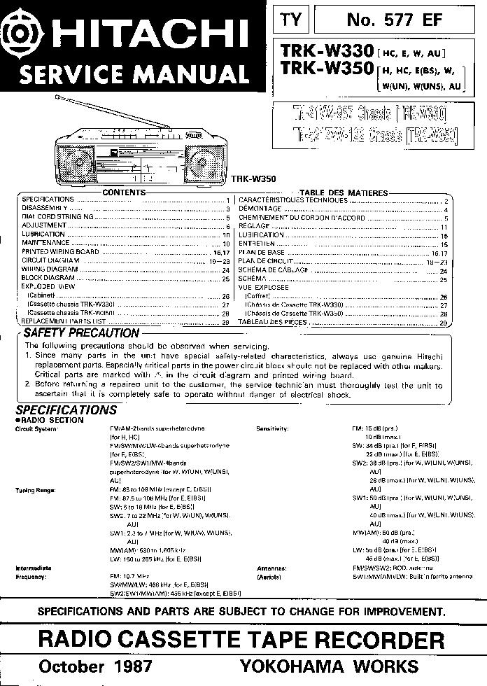 HITACHI TRK-W330 W350 Service Manual download, schematics