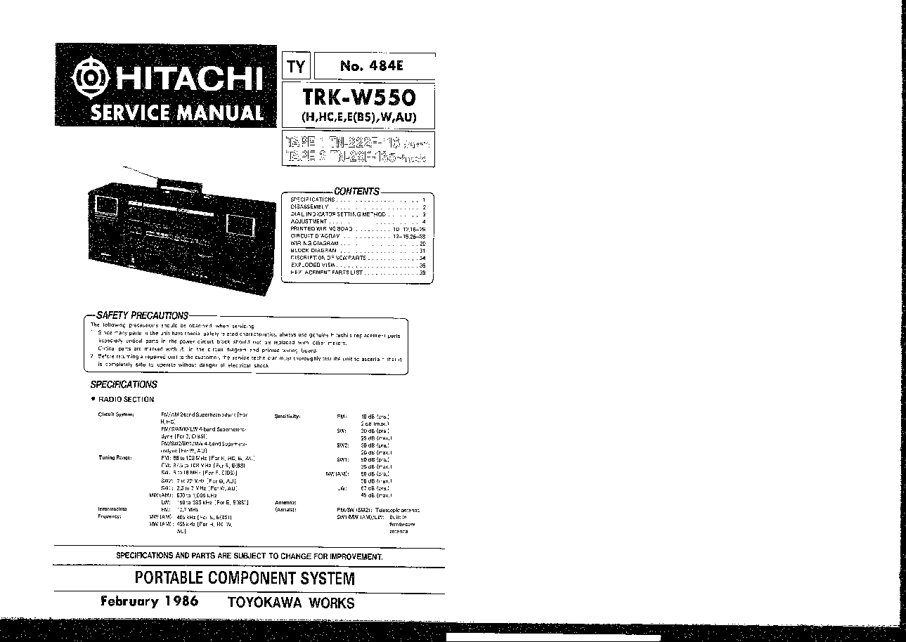 HITACHI TRK-W550 Service Manual free download, schematics