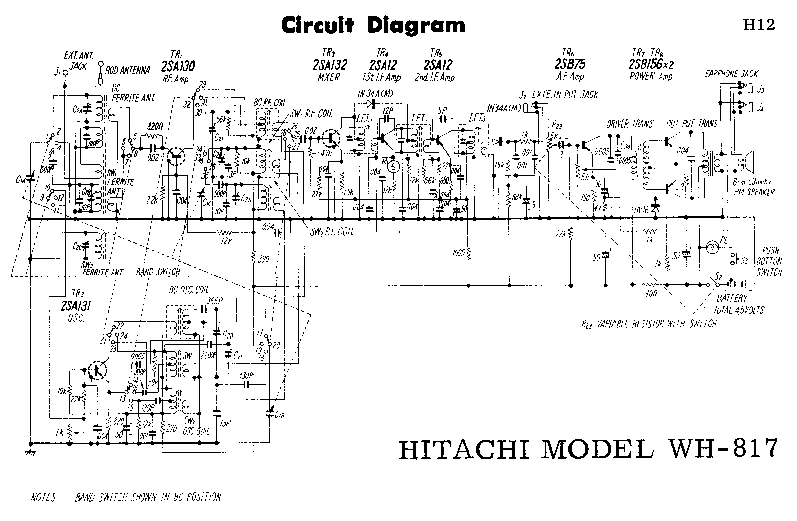 HITACHI WH-817 SCH Service Manual download, schematics