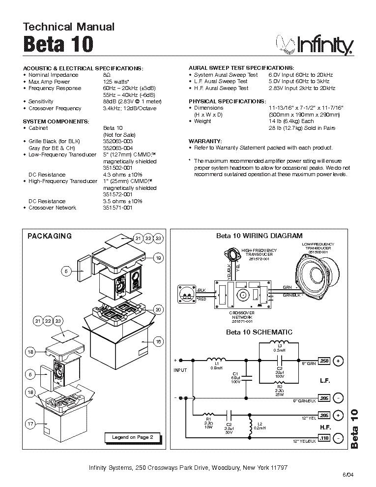 INFINITY BETA 10 Service Manual download, schematics