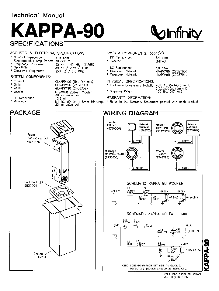 INFINITY KAPPA-90 Service Manual download, schematics