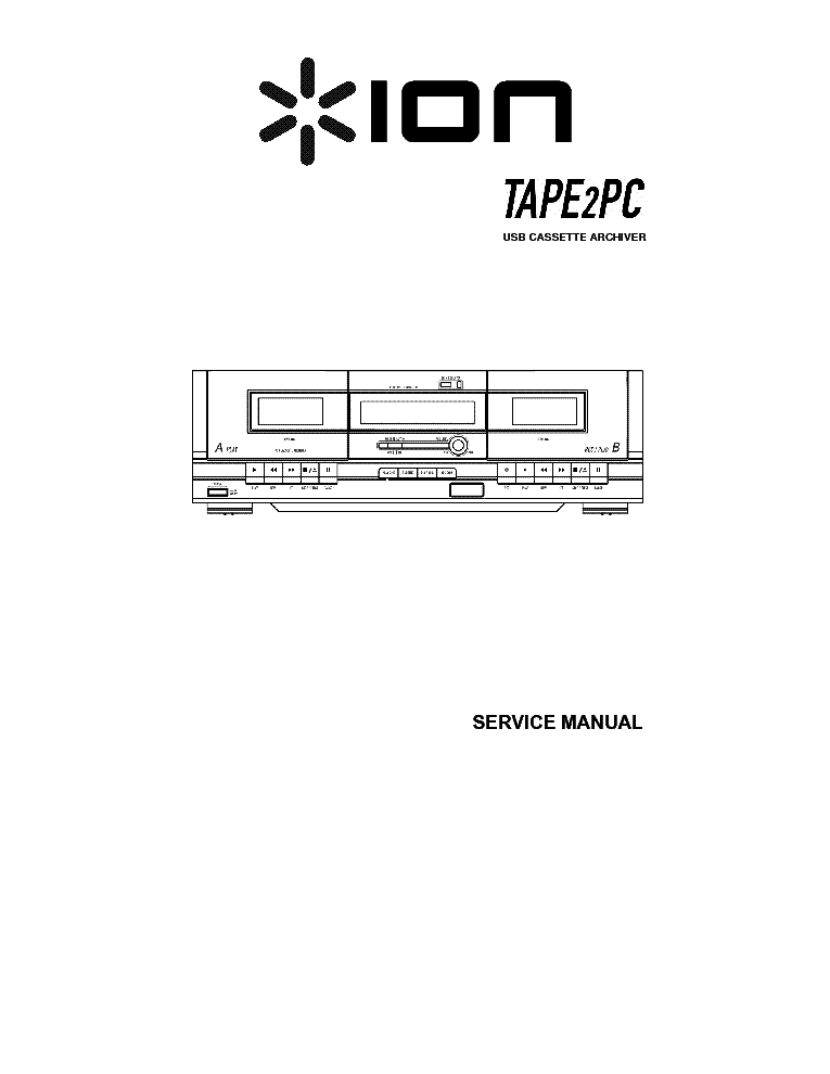 ION TAPE2PC USB CASETTE DECK Service Manual download