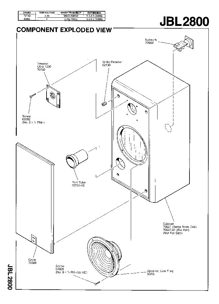JBL-2800 25W SPEAKER SYSTEM SM Service Manual download