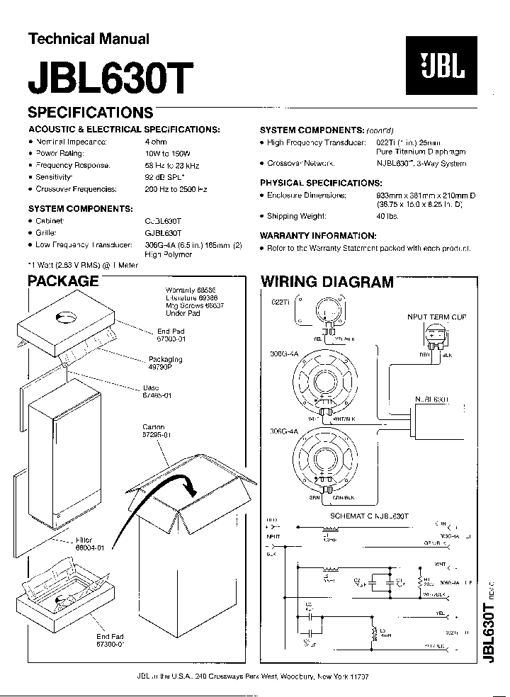 JBL-630-T 150W SPEAKER SYSTEM SM Service Manual download