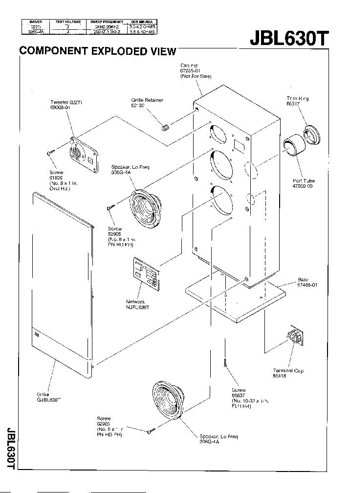 JBL-630-T 150W SPEAKER SYSTEM SM Service Manual download
