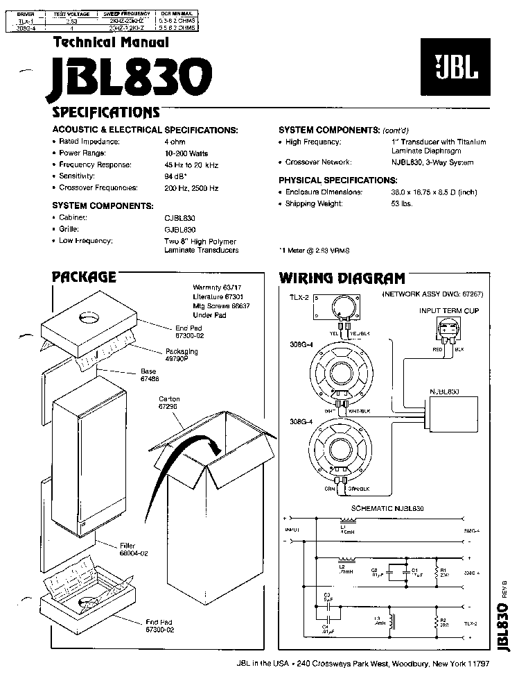 JBL-830 200W SPEAKER SYSTEM SM Service Manual download