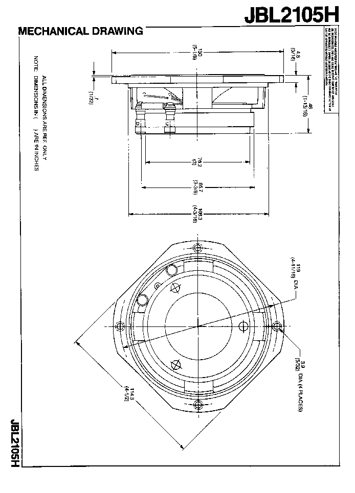 JBL 2105H SPEAKER SM Service Manual download, schematics