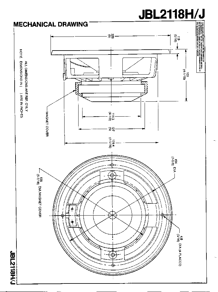 JBL 2118H J SPEAKER SM Service Manual download, schematics